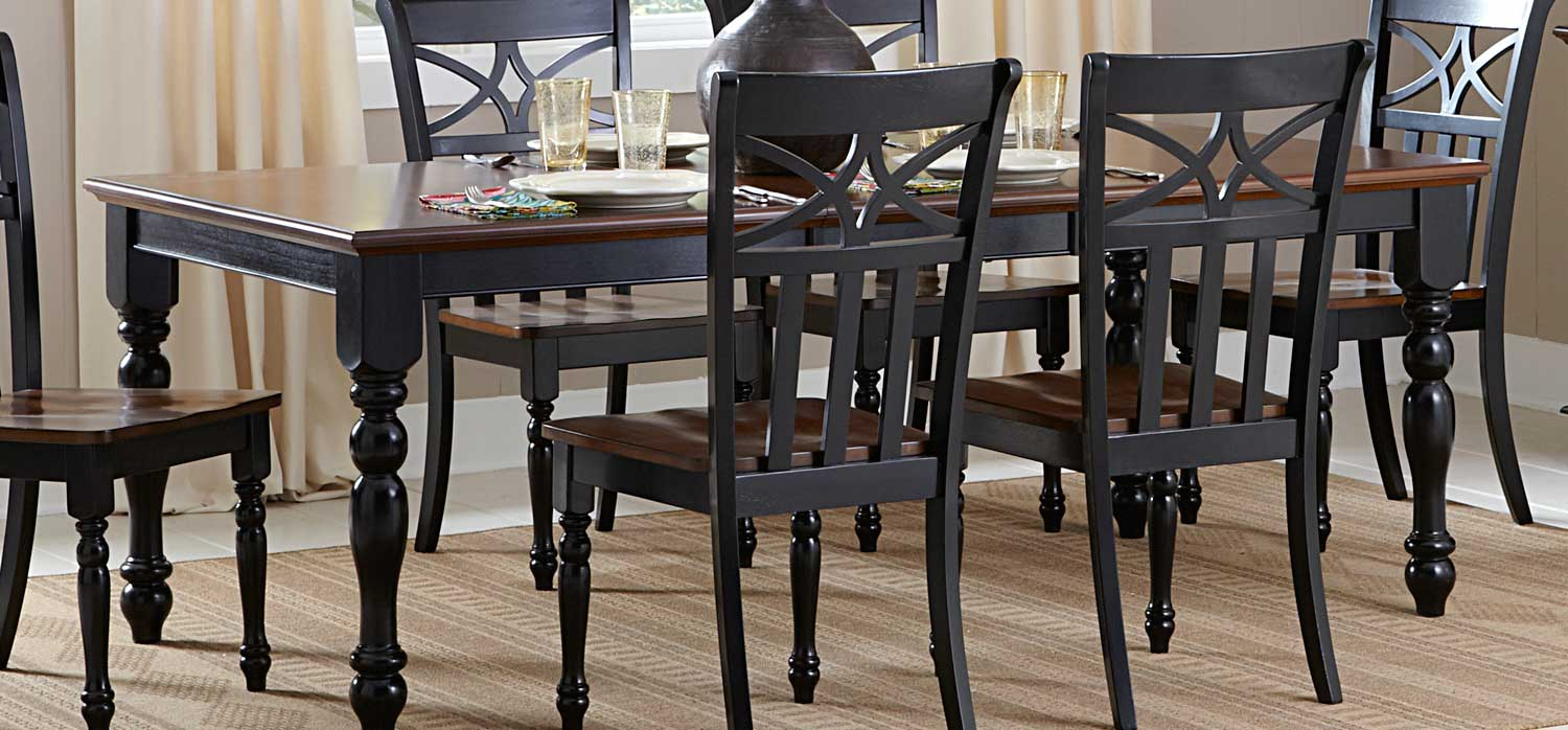 Homelegance Sanibel Dining Table - Cherry/Black 2119BK-78 ...