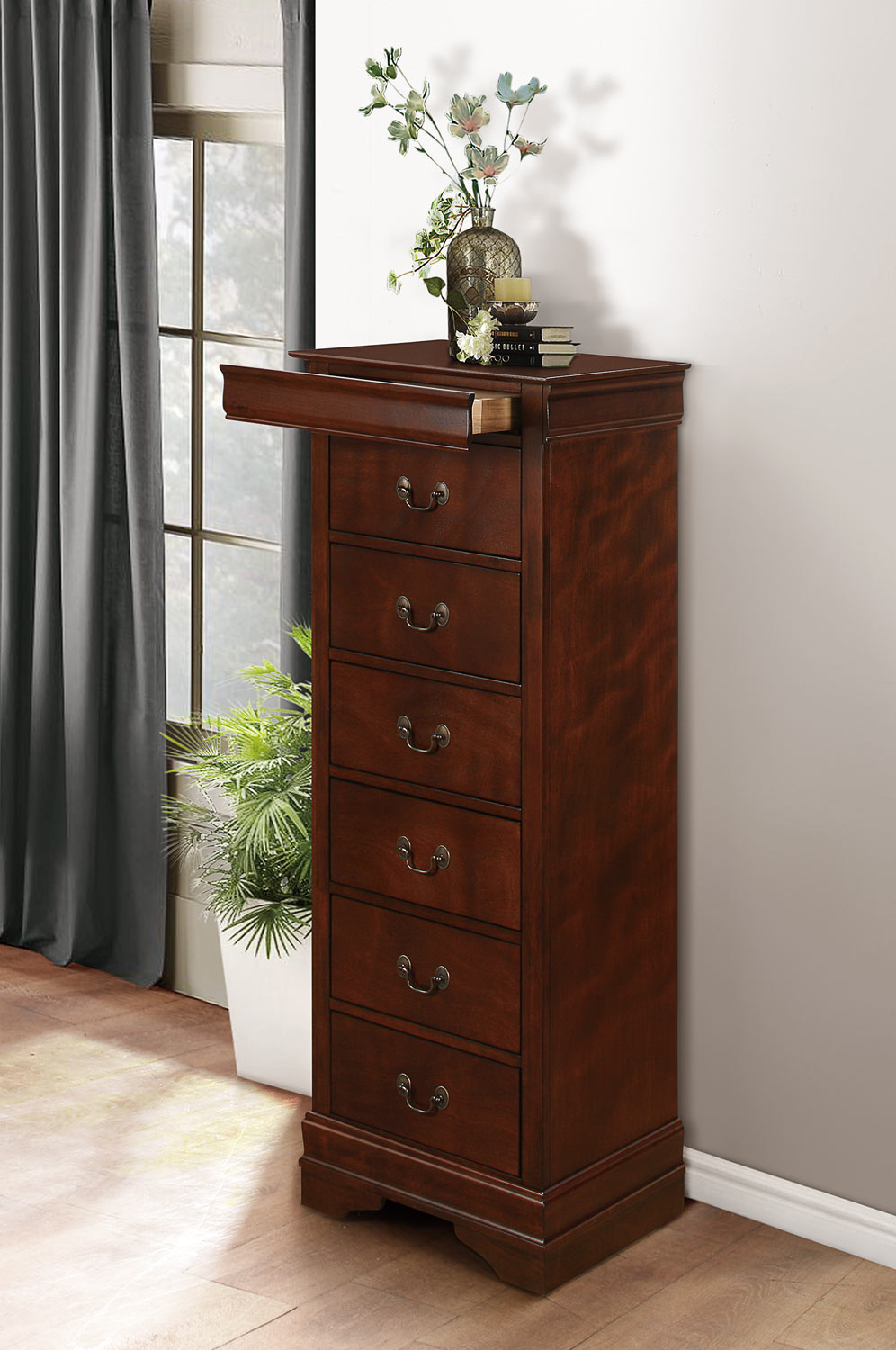 Homelegance Mayville Lingerie Chest - Hidden Drawer - Burnished Brown Cherry