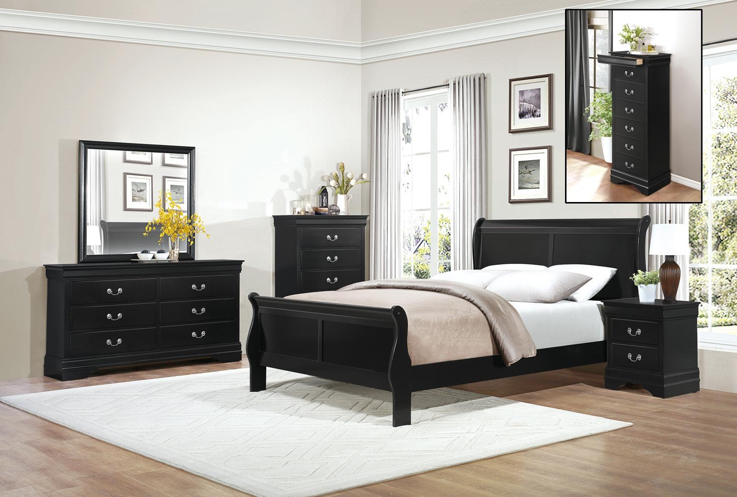 Homelegance Mayville Bedroom Set Black 2147BK BEDROOM SET