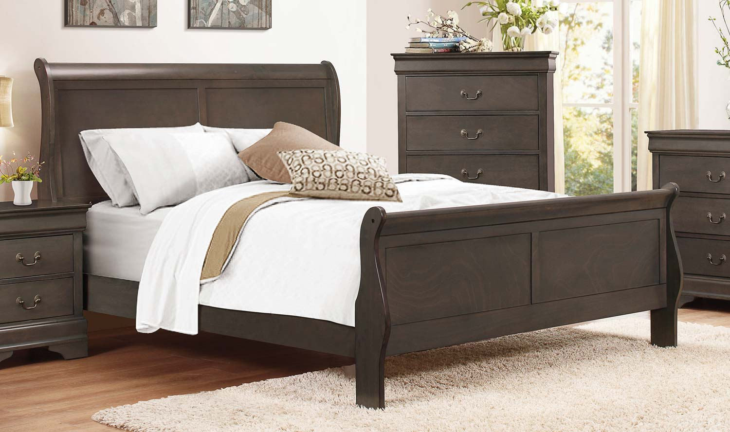 Homelegance Mayville Sleigh Bed - Stained Grey