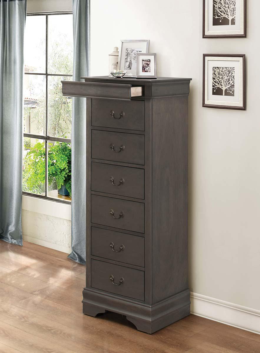 Homelegance Mayville Lingerie Chest - Hidden Drawer - Stained Grey