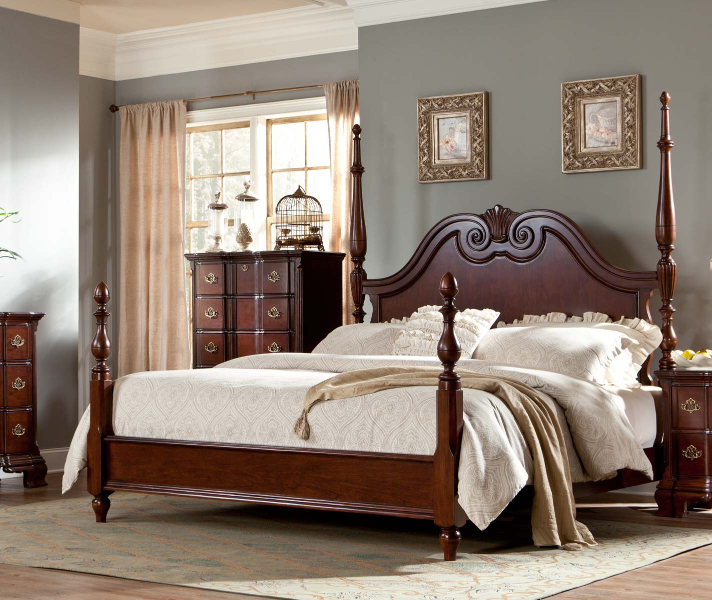 Homelegance Guilford Poster Bed - Brown Cherry