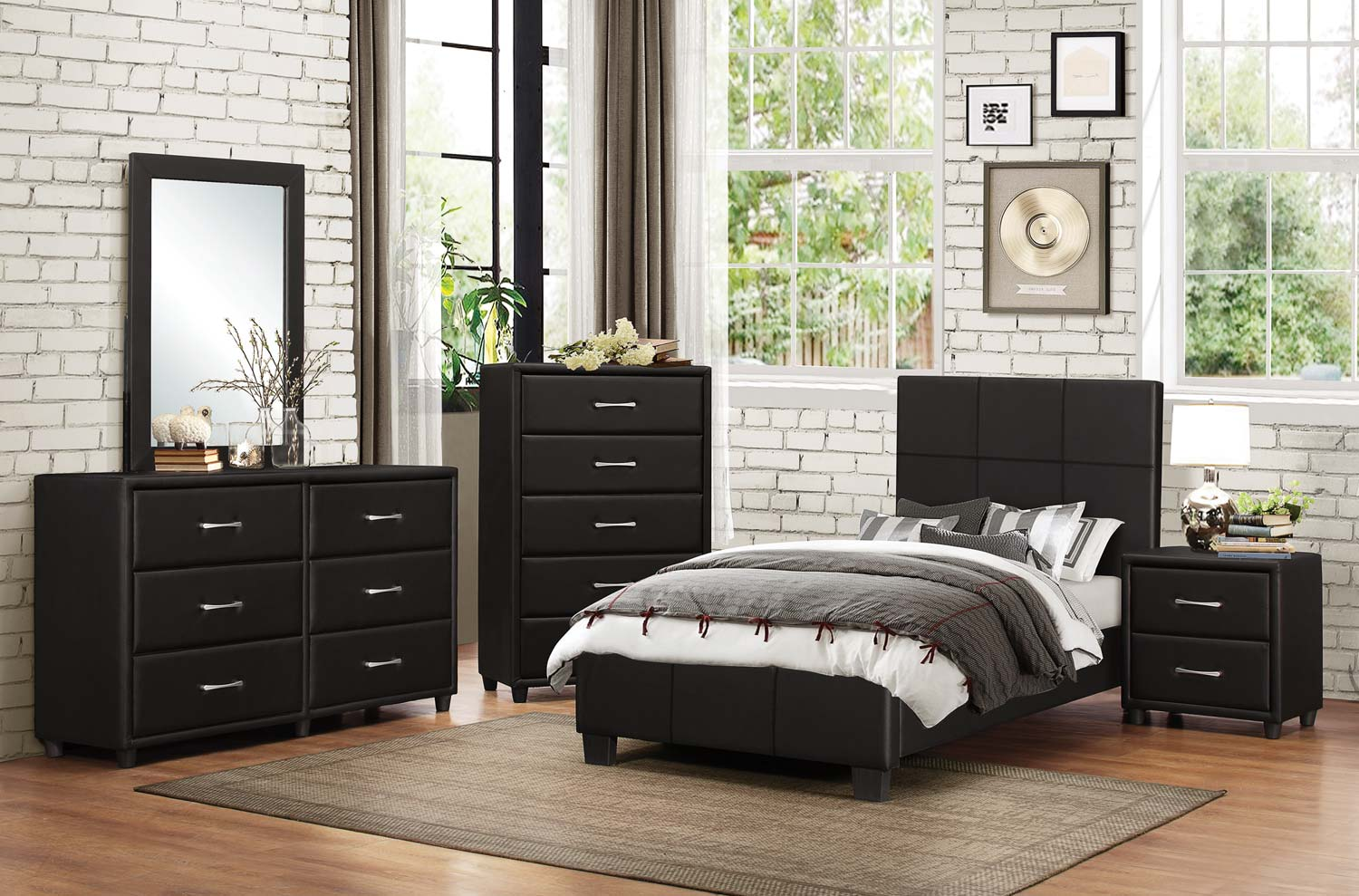 Homelegance Lorenzi Upholstered Platform Bedroom Set Black Vinyl