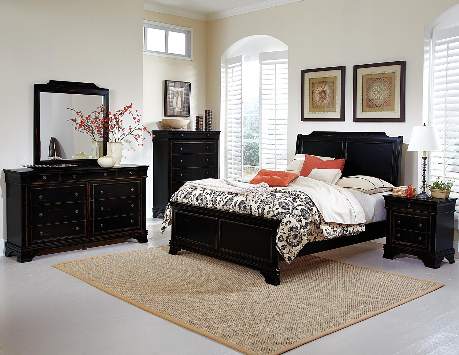 Homelegance Derby Run Bedroom Set Black Sand Through