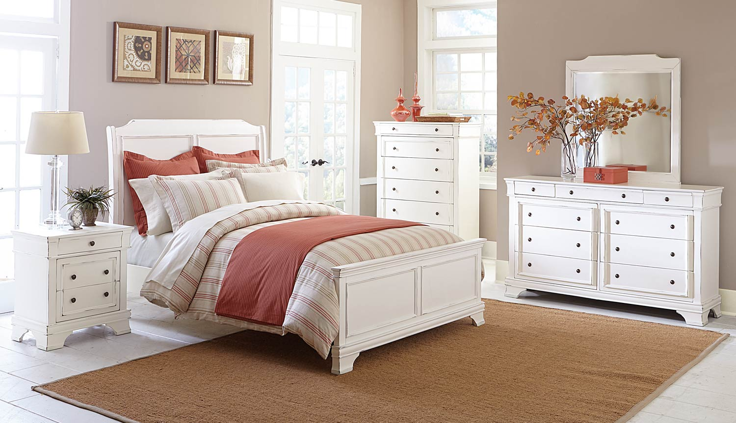 homelegance derby run bedroom set - white sand-through 2223w