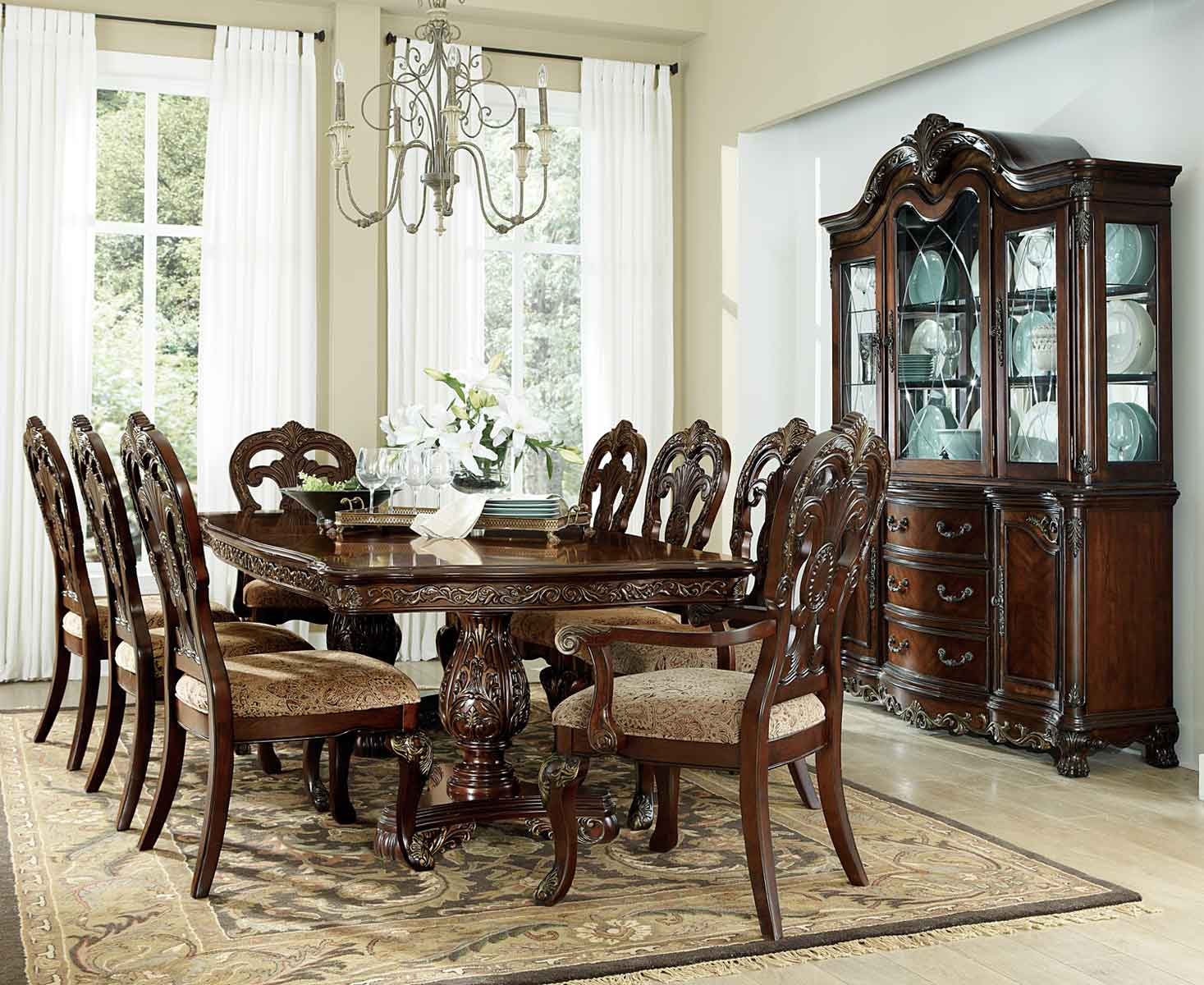 Homelegance Deryn Park Double Pedestal Dining Set   Cherry