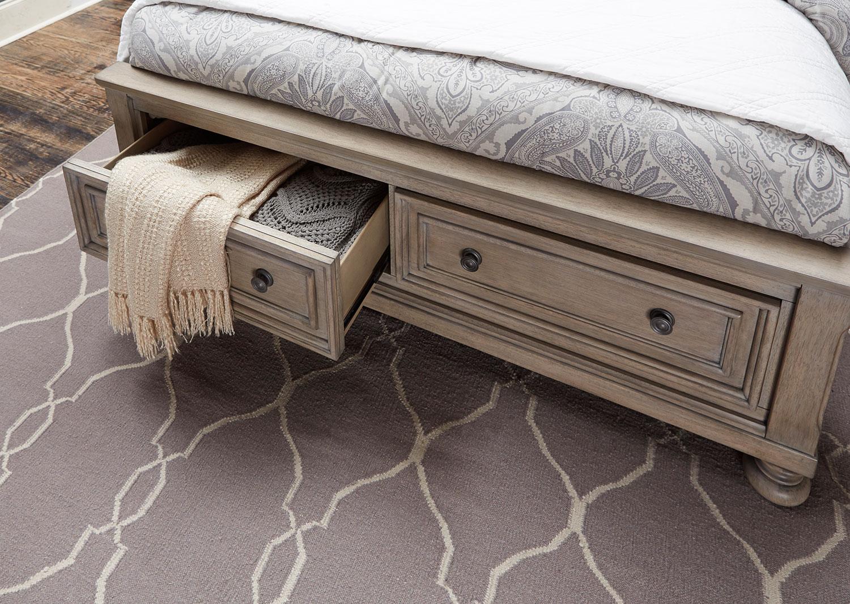 Homelegance Bethel Sleigh Platform Storage Bed - Wire-brushed Gray