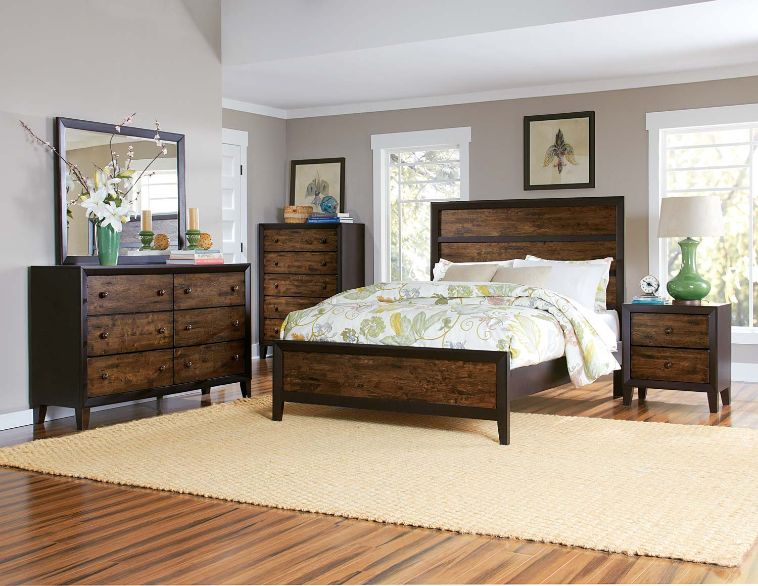 Homelegance Arcola Bedroom Set   Espresso/Drifted Oak