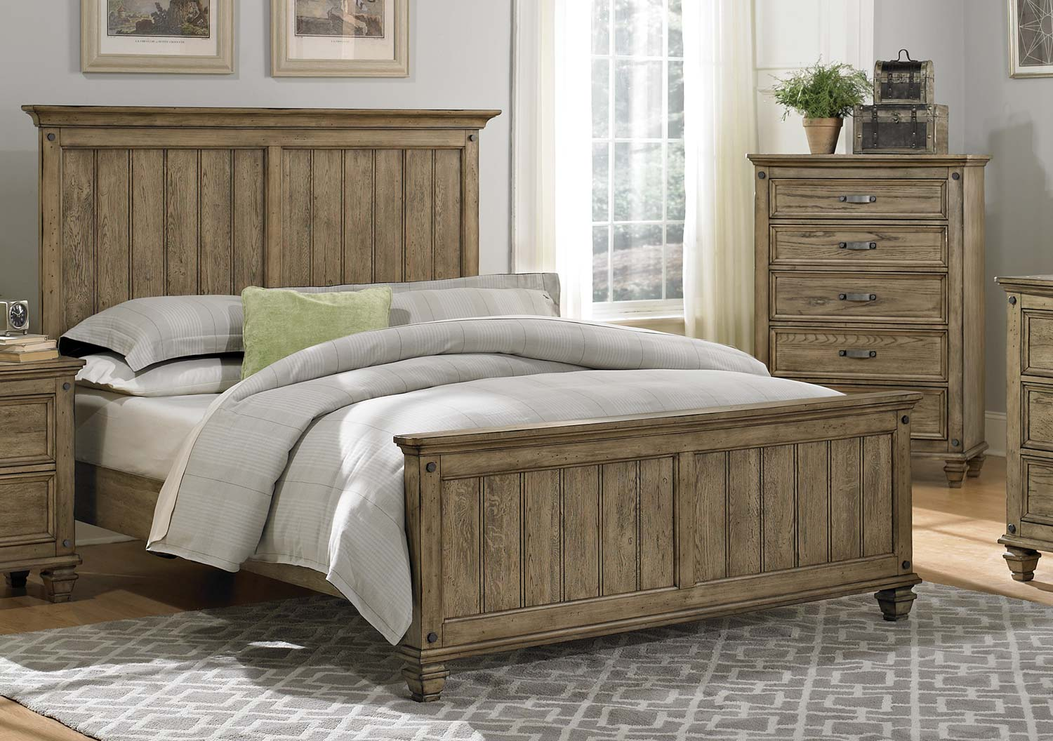 Homelegance sylvania bedroom set driftwood oak 2298 bed for Furniture bedroom furniture
