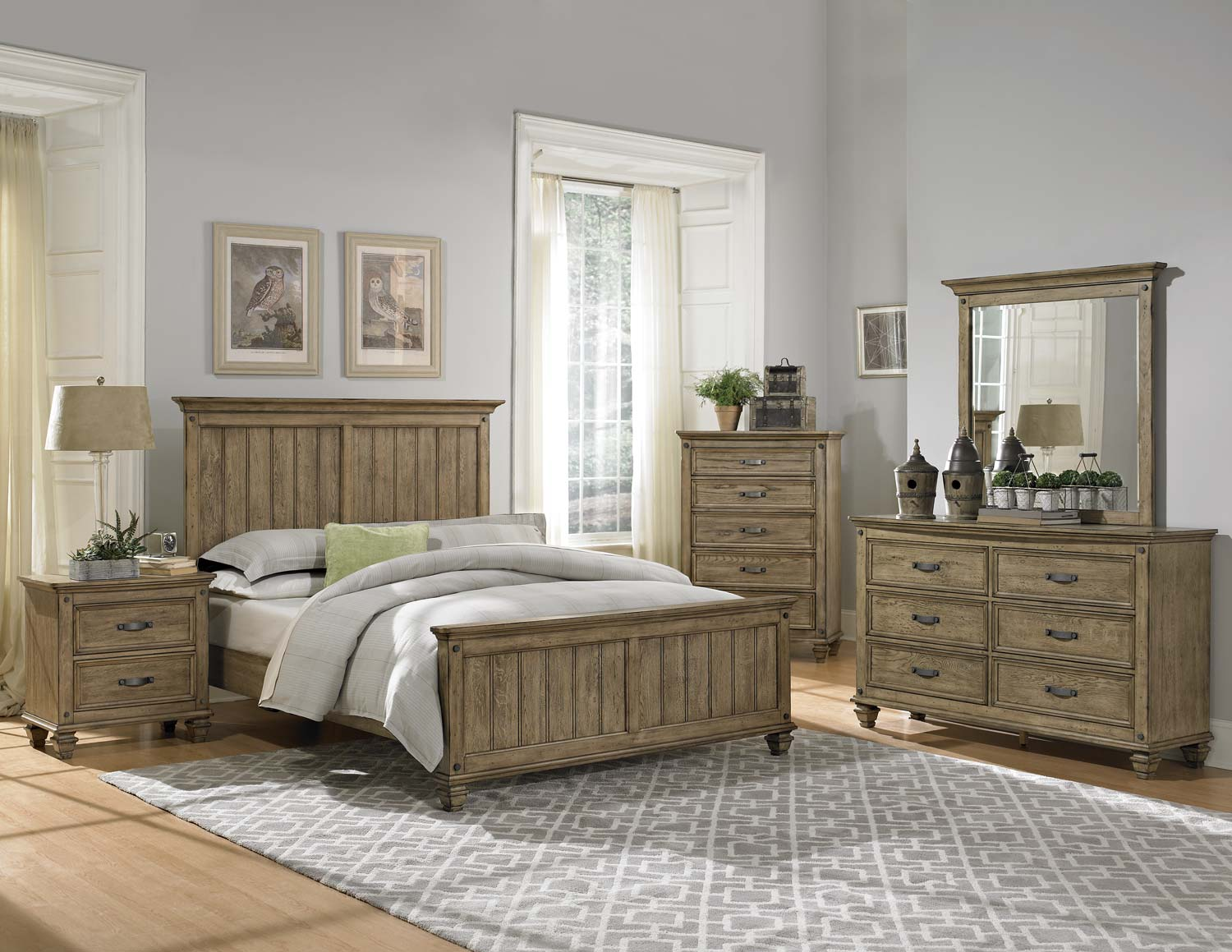 Homelegance sylvania bedroom set driftwood oak 2298 bed Seaside collection furniture