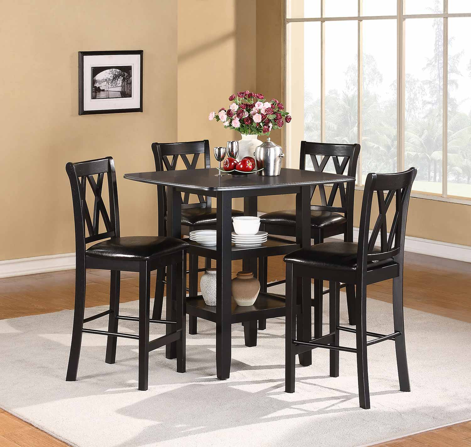 homelegance norman 5-piece pack counter height set - black 2514bk