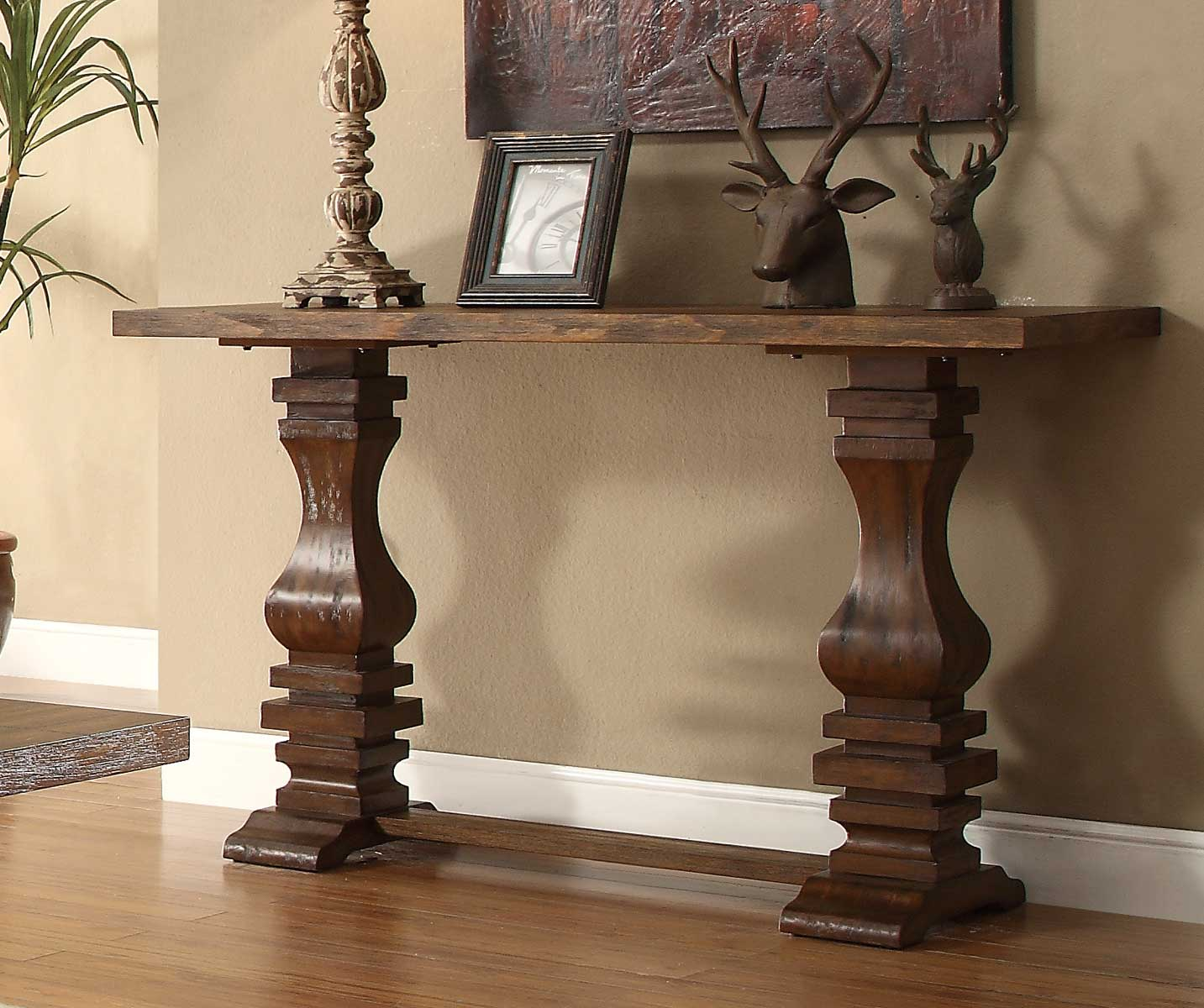 homelegance marie louise sofa table rustic oak brown
