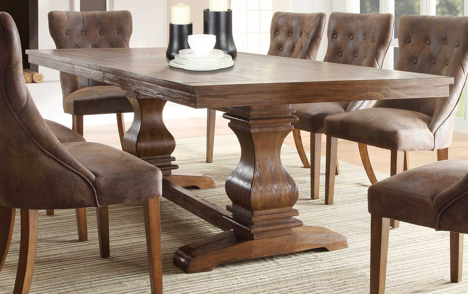 Homelegance Marie Louise Dining Table - Rustic Oak Brown