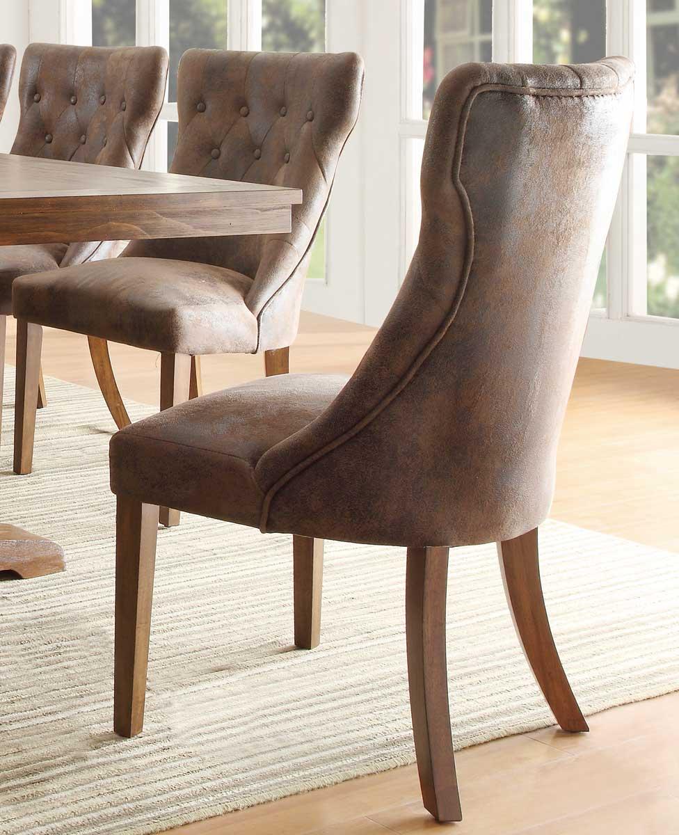 Homelegance Marie Louise Side Chair - Rustic Oak Brown - Tufted Upholstery