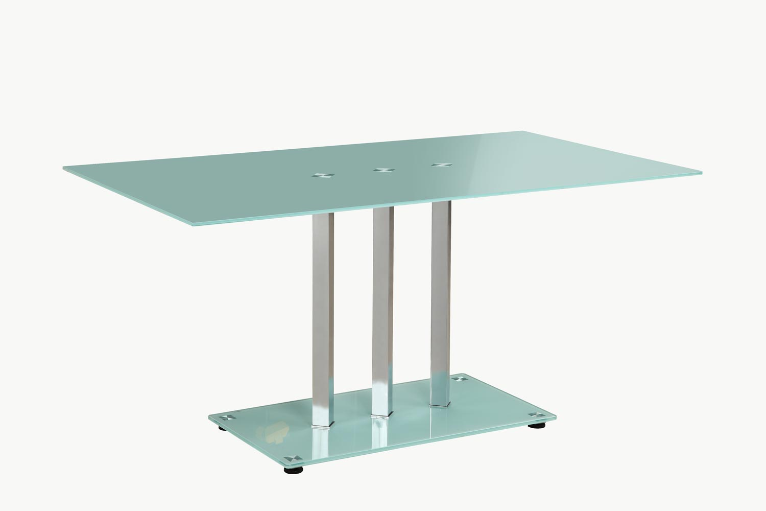 Homelegance goran glass top dining table glass chrome for Frosted glass dining table