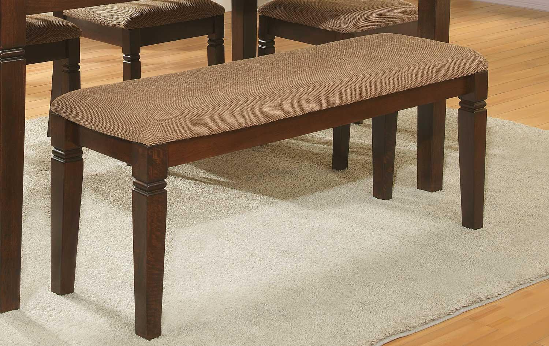 Homelegance Devlin Bench - Espresso - Beige Fabric