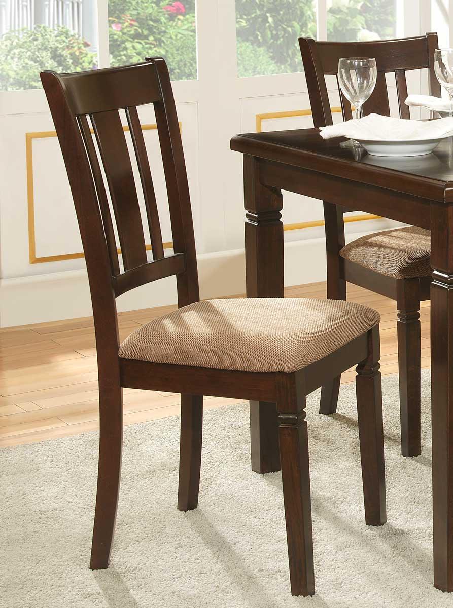 Homelegance Devlin Side Chair - Espresso - Beige Fabric