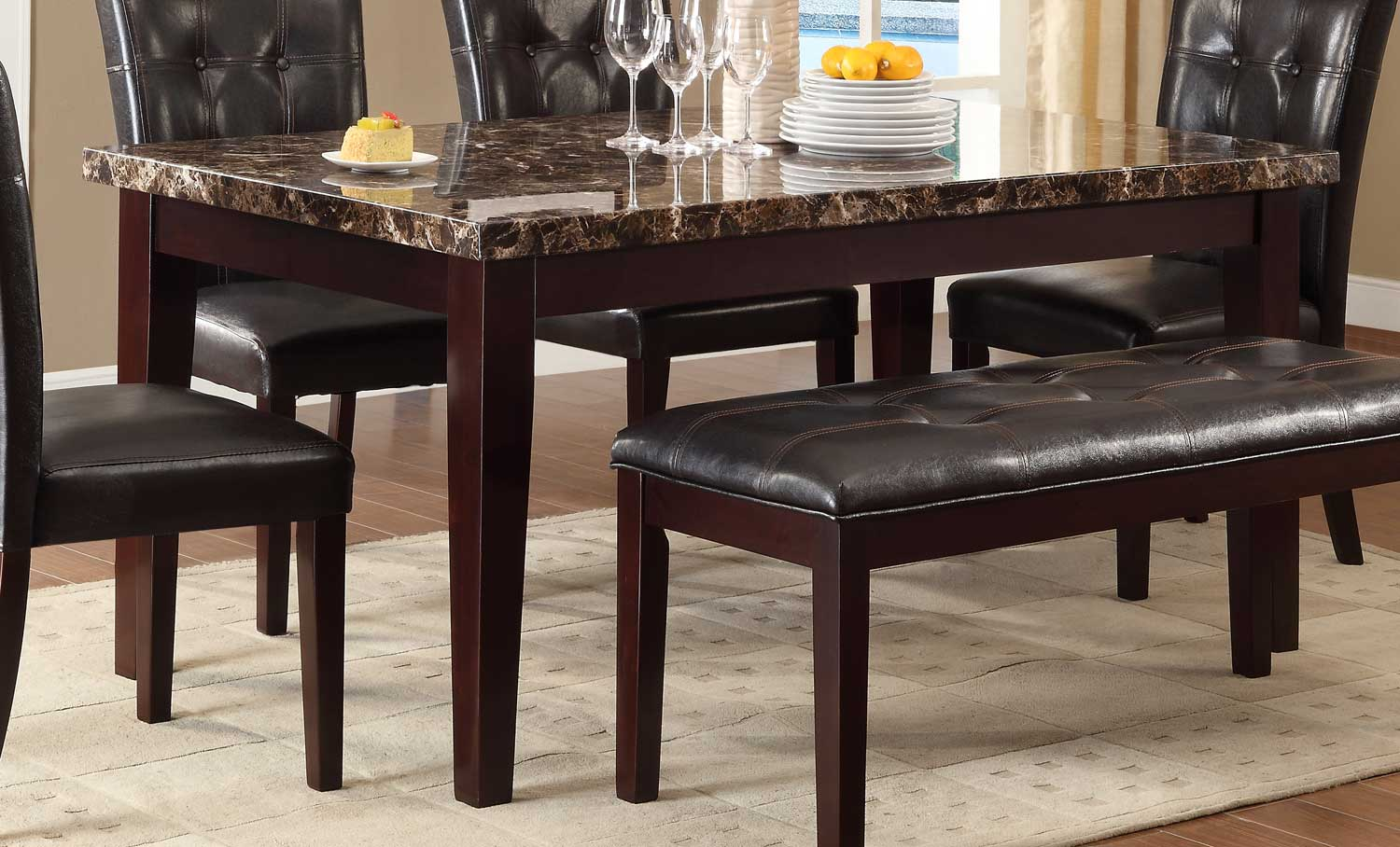 Homelegance Teague Faux Marble Dining Table - Espresso & Homelegance Teague Faux Marble Dining Table - Espresso 2544-64 ...