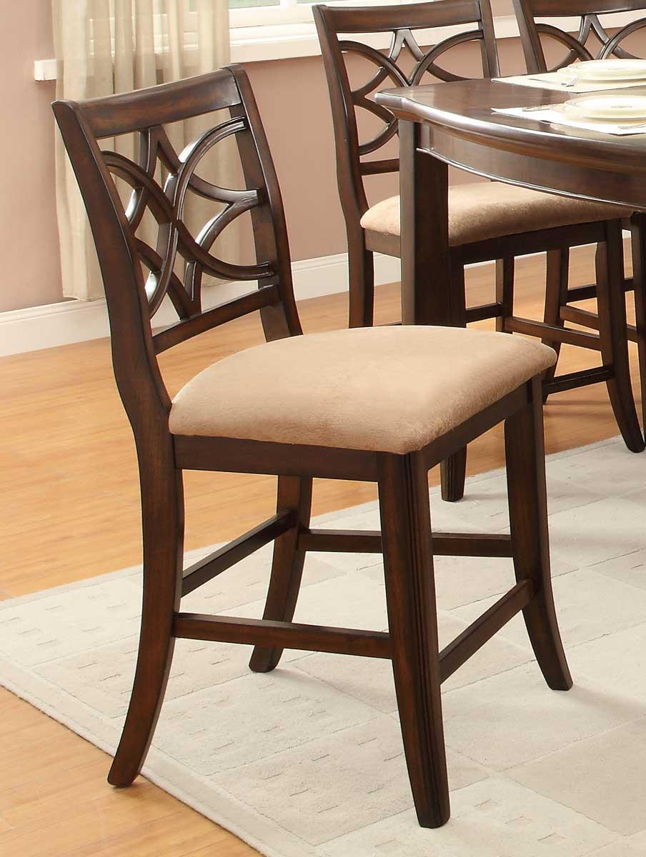 Homelegance Keegan Counter Height Chair - Neutral Tone Fabric - Cherry