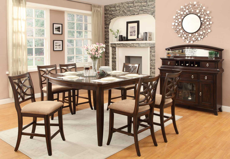Homelegance Keegan Counter Height Dining Set - Neutral Tone Fabric - Cherry