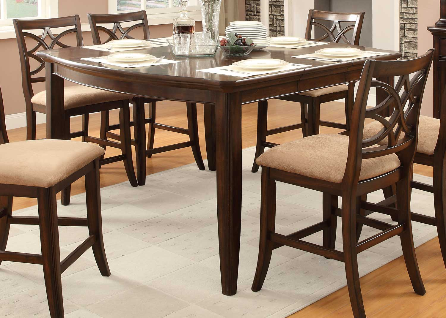 Homelegance Keegan Counter Height Table - Neutral Tone Fabric - Cherry