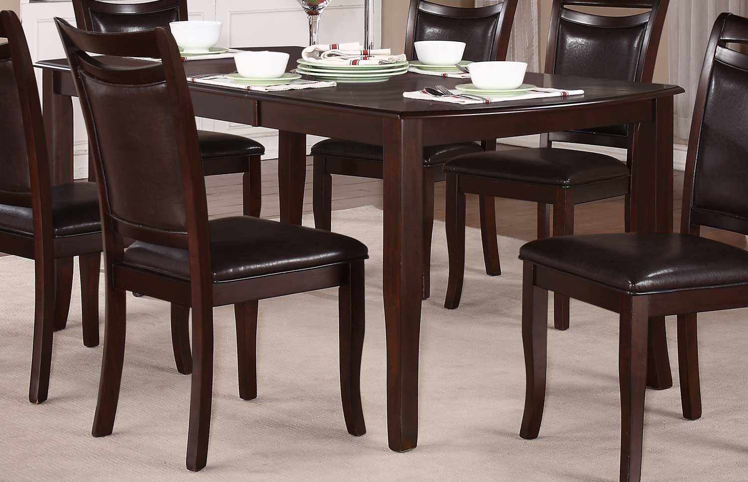 homelegance maeve dining table dark cherry 2547 72