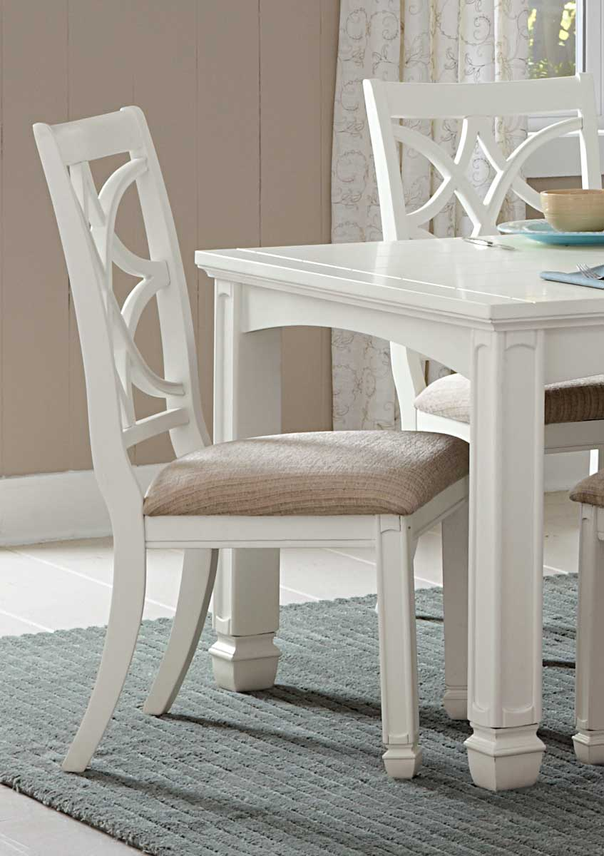 Homelegance Kentucky Park Side Chair - White  - Beige Fabric