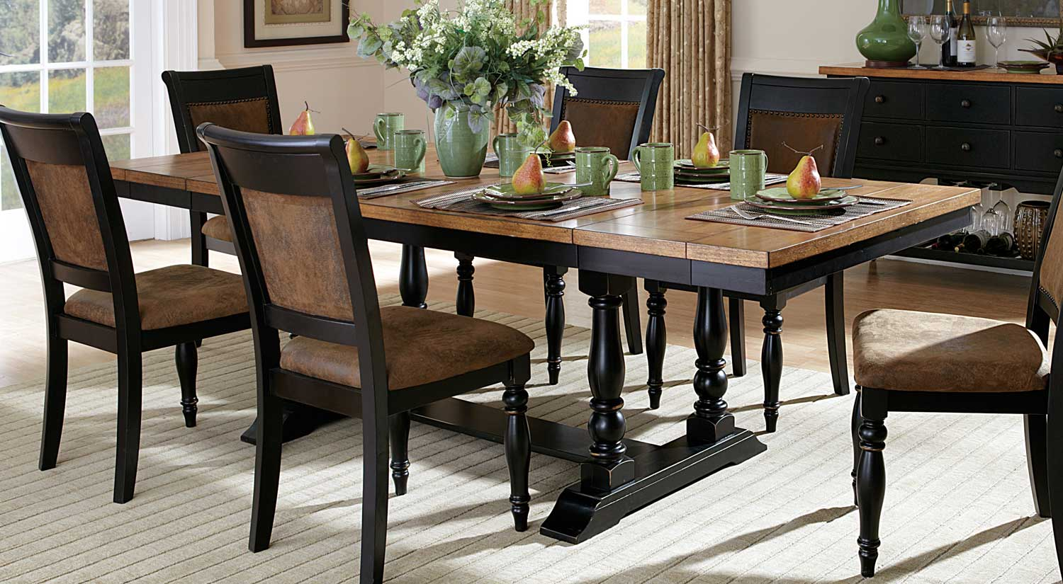 Homelegance Grisoni Dining Table With Two End Leaves Acacia - Distressed dark wood dining table