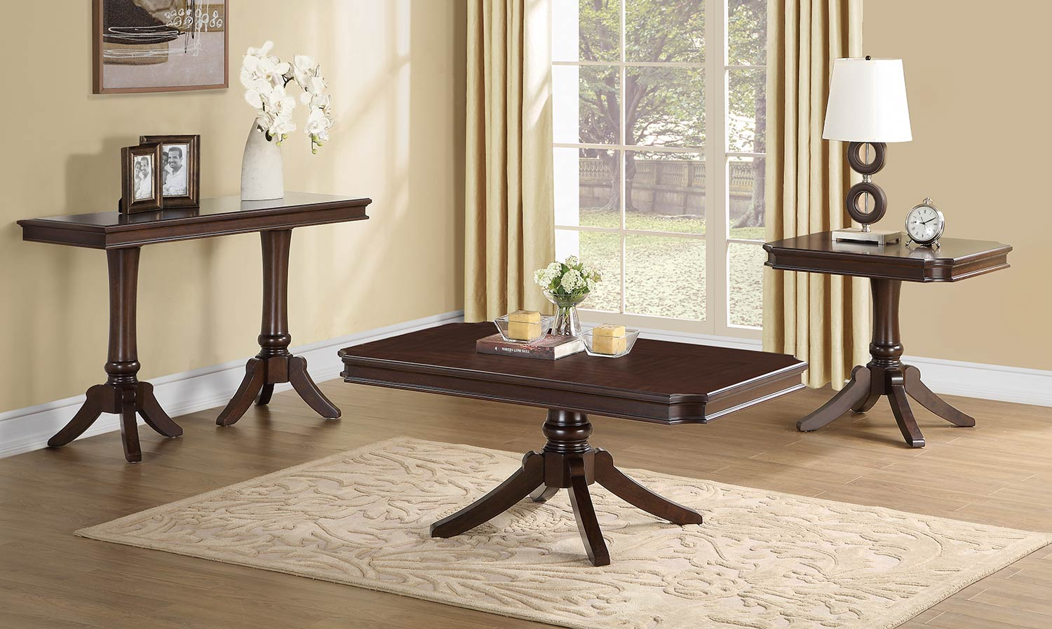 Homelegance Marston Rectangular Coffee Table Set   Dark Cherry