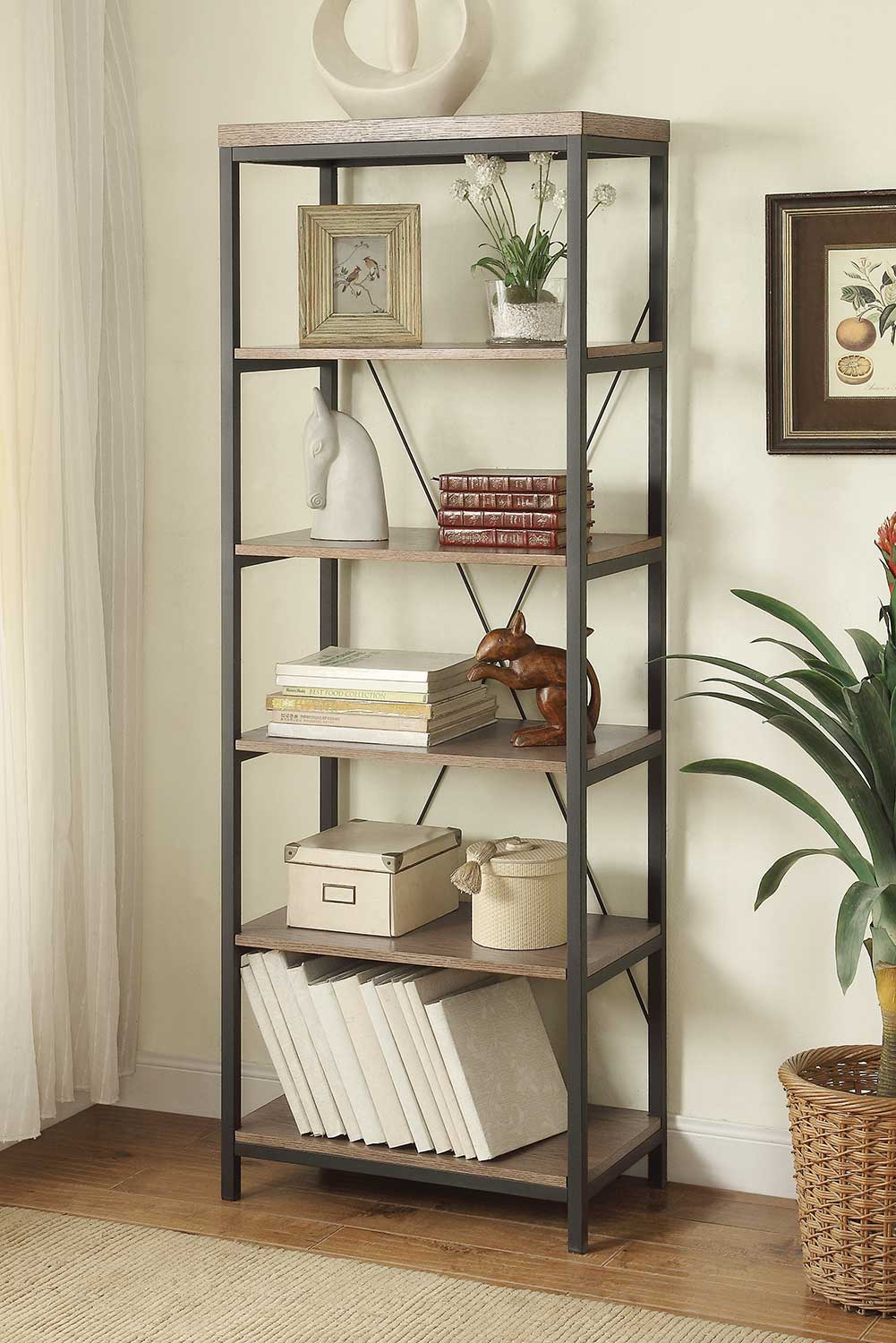 Homelegance Daria 26in Bookcase - Weathered Wood Top with Metal Framing