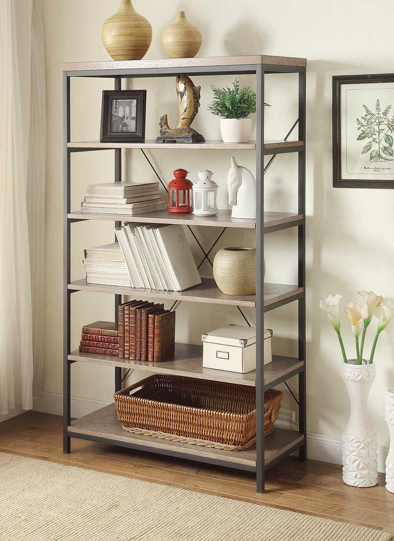 Homelegance Daria 40in Bookcase - Weathered Wood Top with Metal Framing