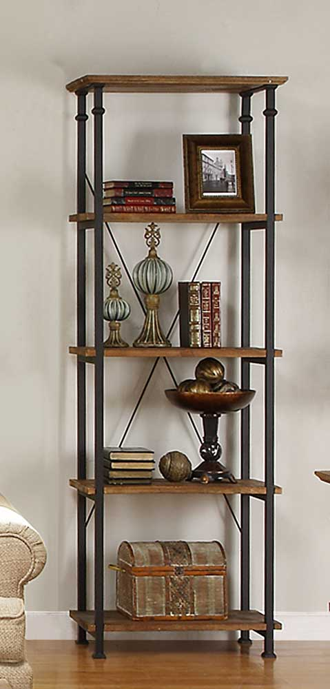 Homelegance Factory Bookcase -Solid Wood Shelves - Rustic Brown