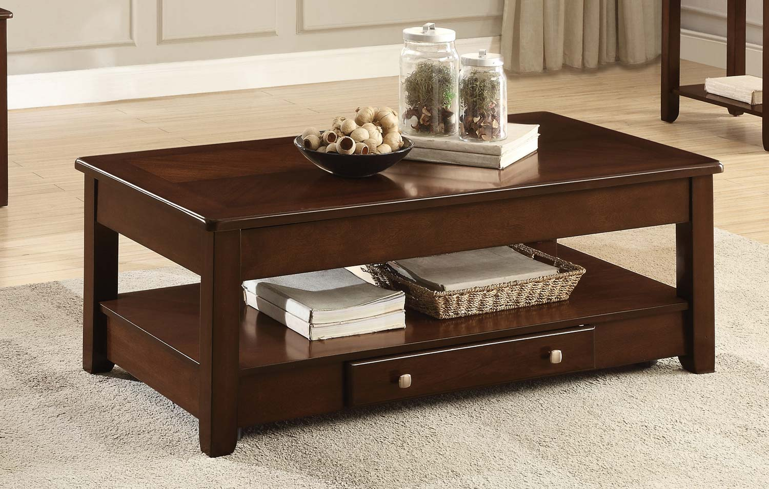 Homelegance Ballwin Cocktail Table with Lift Top and Functional Drawer on Casters - Deep Cherry