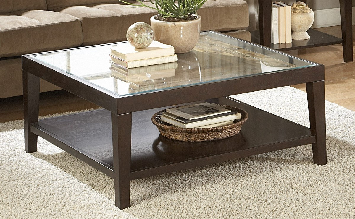homelegance vincent square cocktail table with glass top. Black Bedroom Furniture Sets. Home Design Ideas