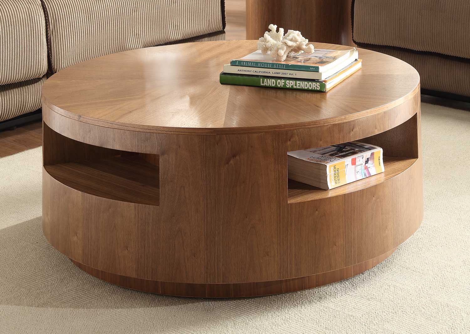 Homelegance aquinnan round coffee table with casters for Table basse ronde bois