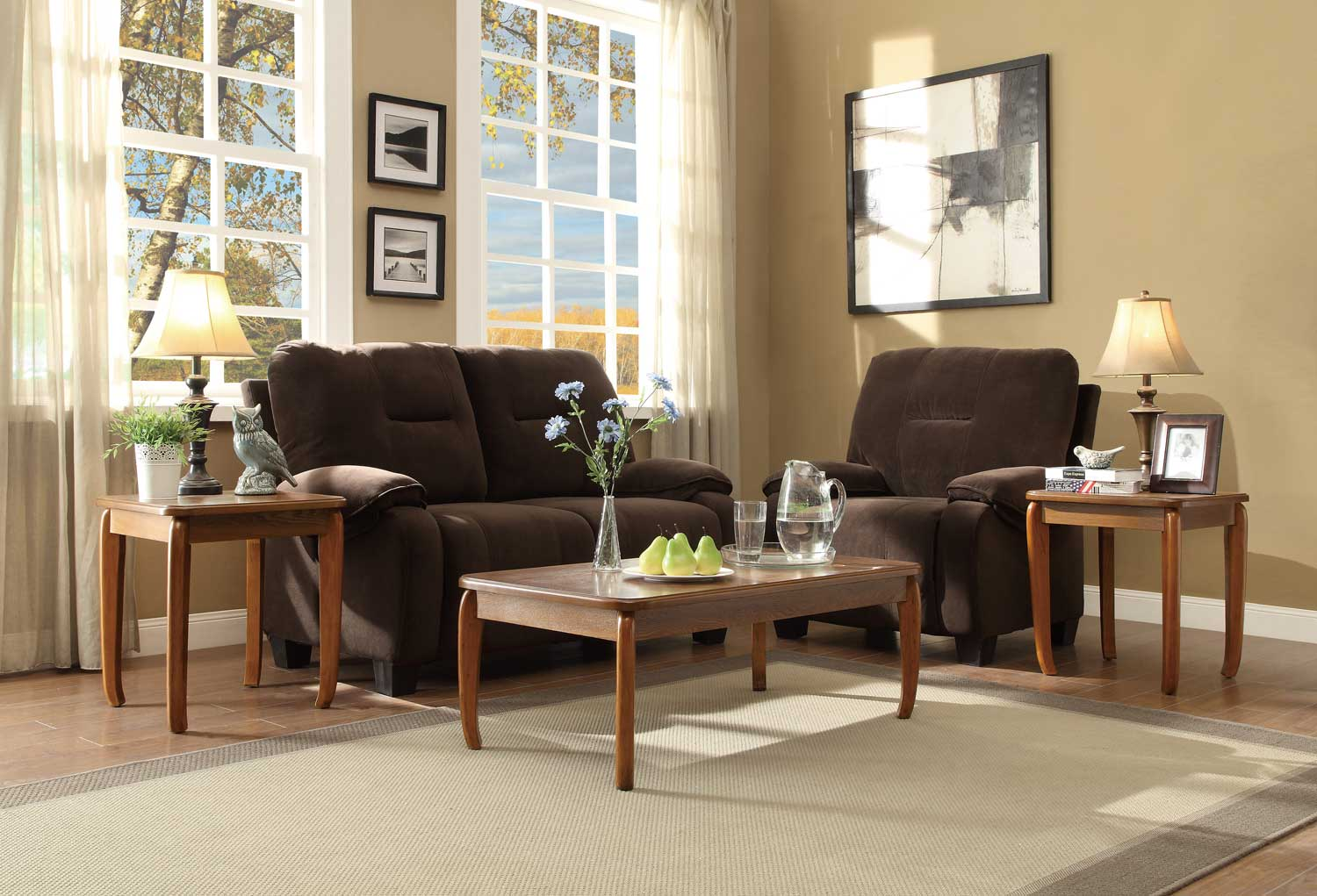 Homelegance Barnaby 3-Piece Occasional Tables - Classic Oak