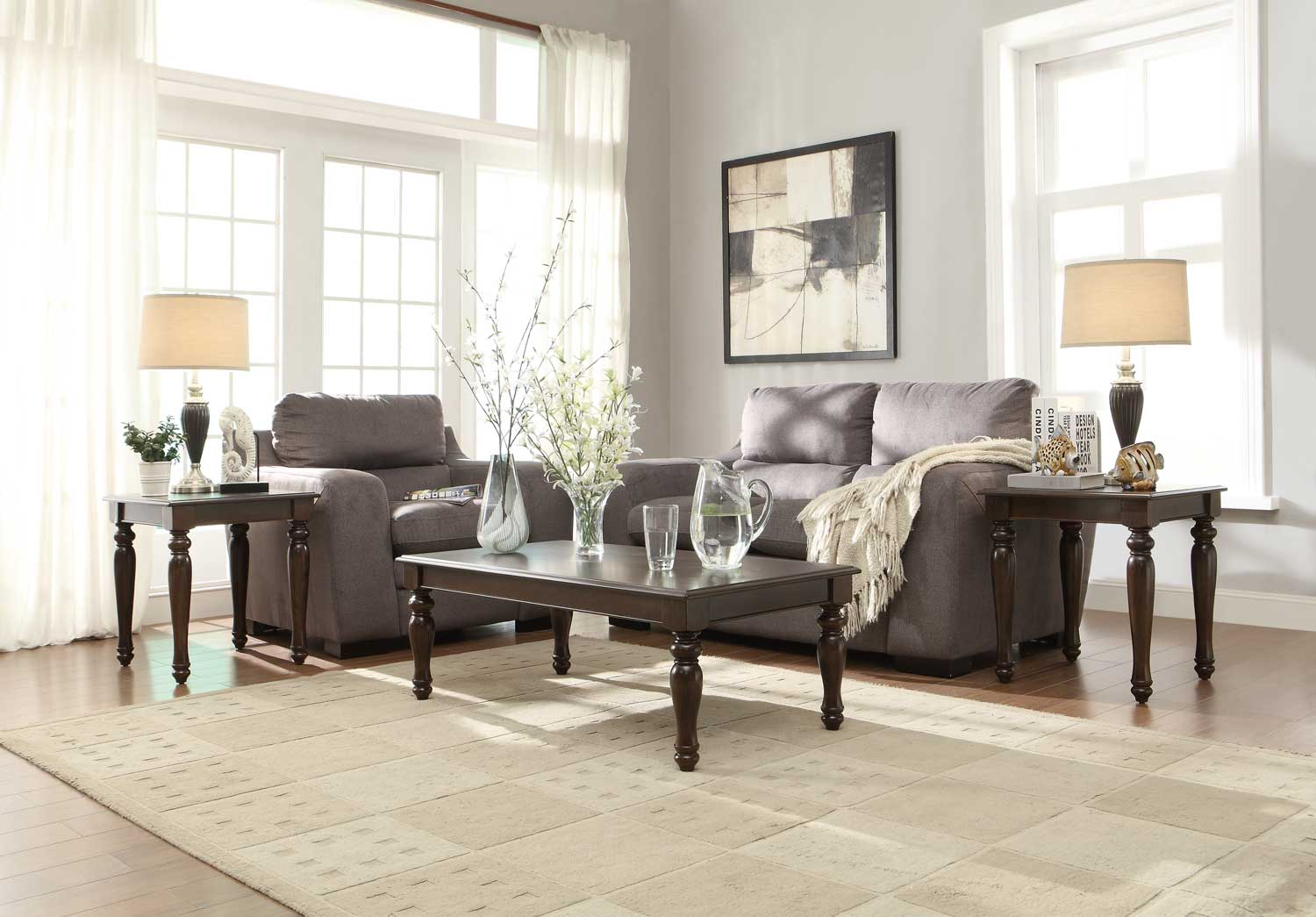 Homelegance Hebron 3-Piece Occasional Tables - Rich Brown Cherry