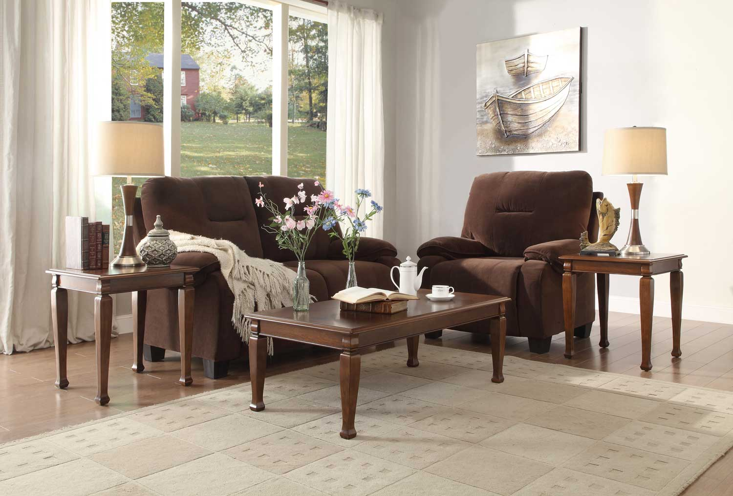 Homelegance Galligan 3-Piece Occasional Tables - Warm Brown Cherry