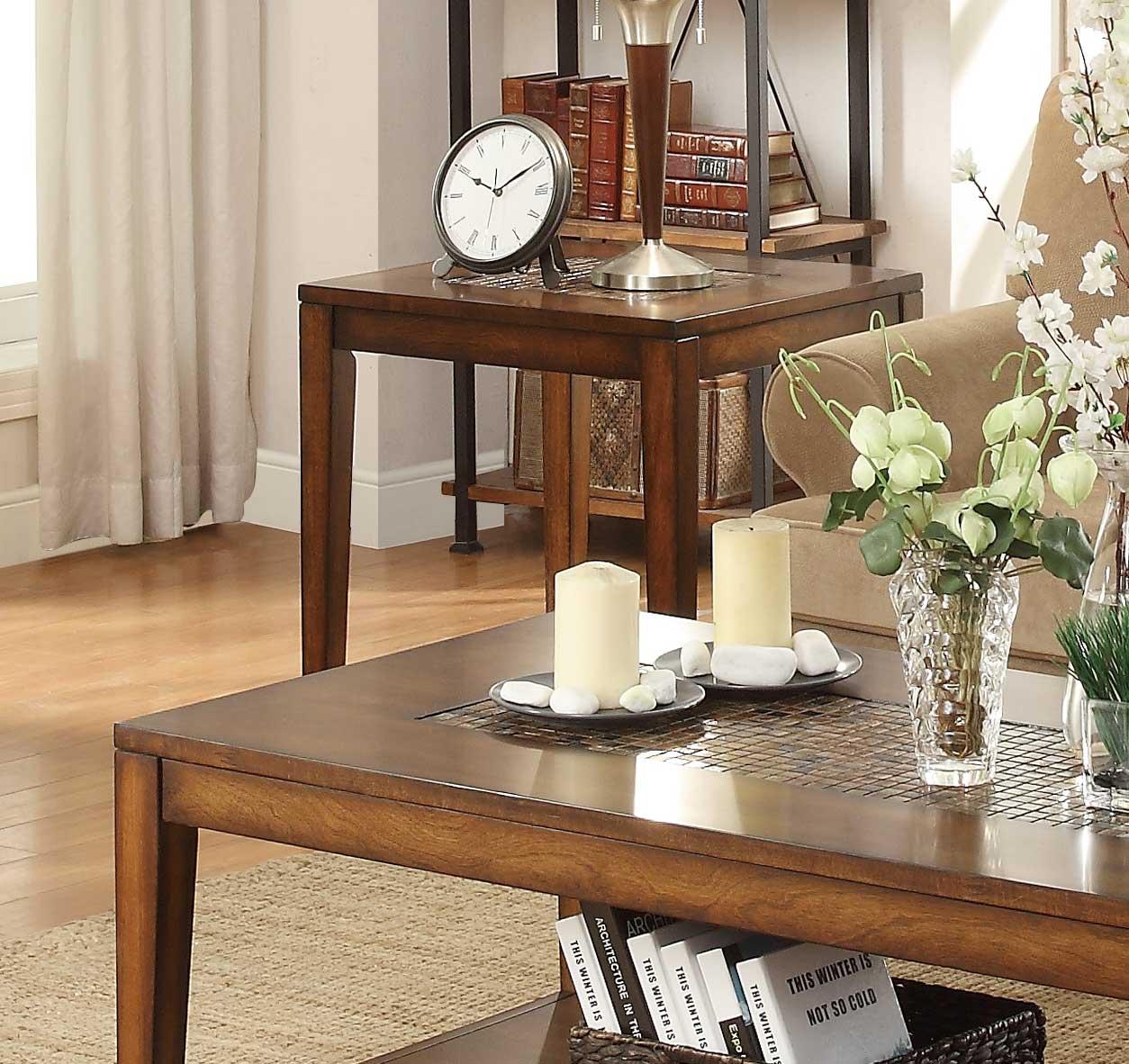 Homelegance Antoni End Table with Shelf - Warm Brown Cherry