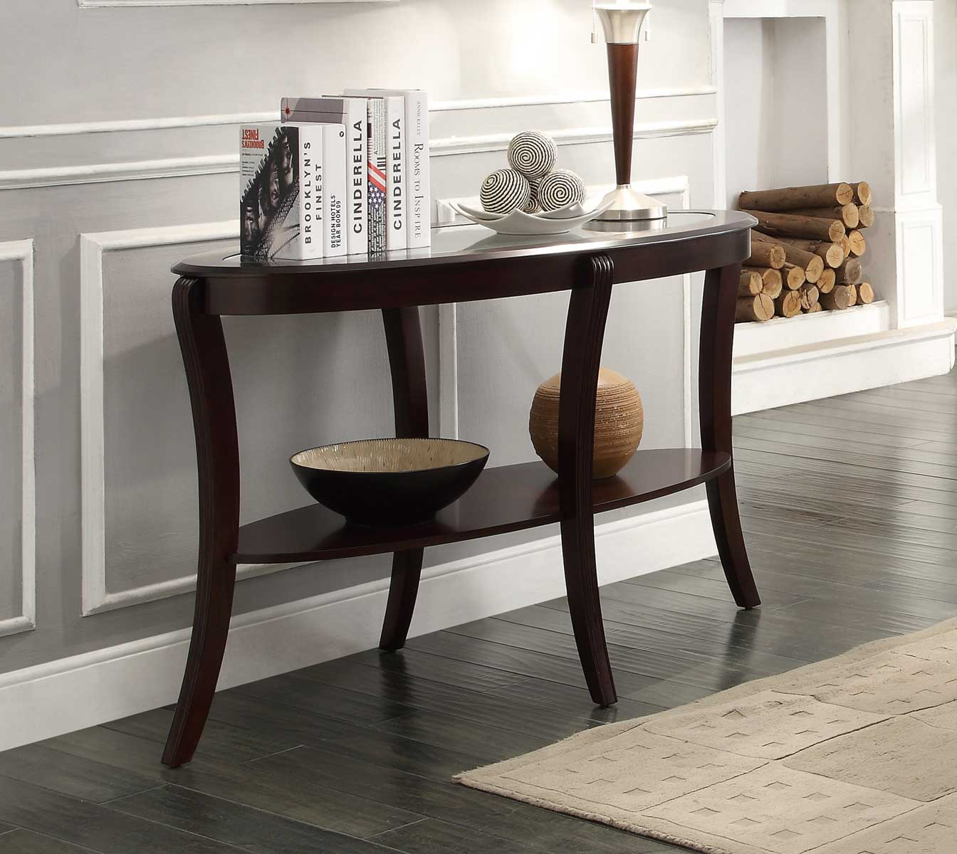 Homelegance Pierre Sofa Table with Glass Insert
