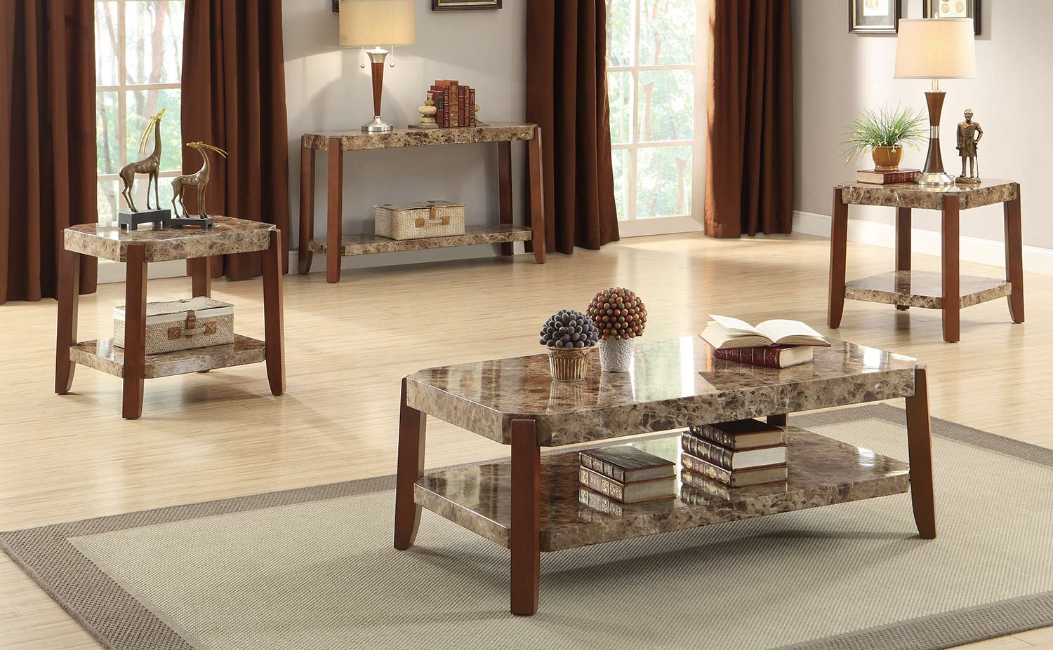 Homelegance Indra Coffee Table Set   Cherry With Faux Marble Top