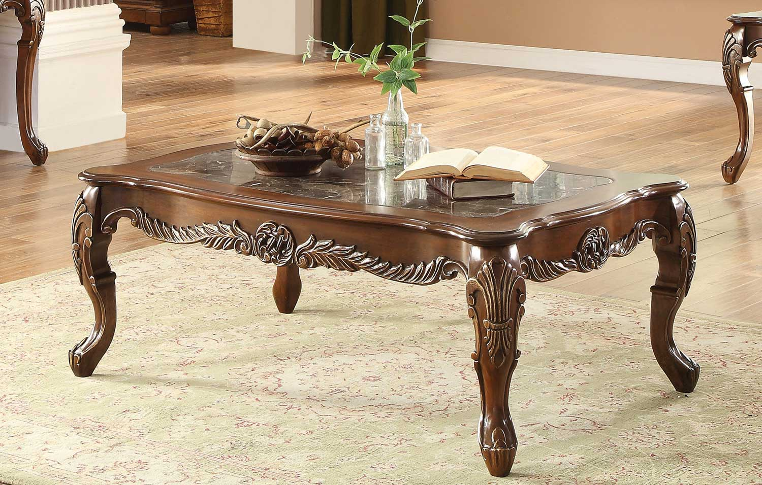 Homelegance Logan Cocktail Table with Marble Inset - Warm Cherry