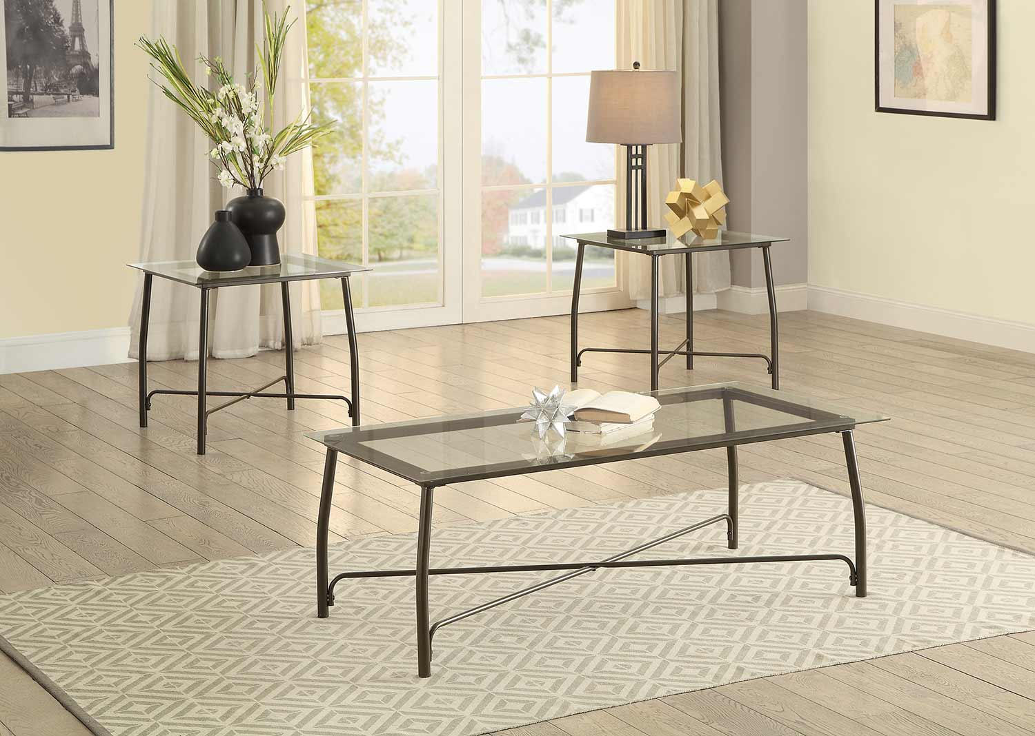 Homelegance Suisun 3-Piece Occasional Tables with Glass Top