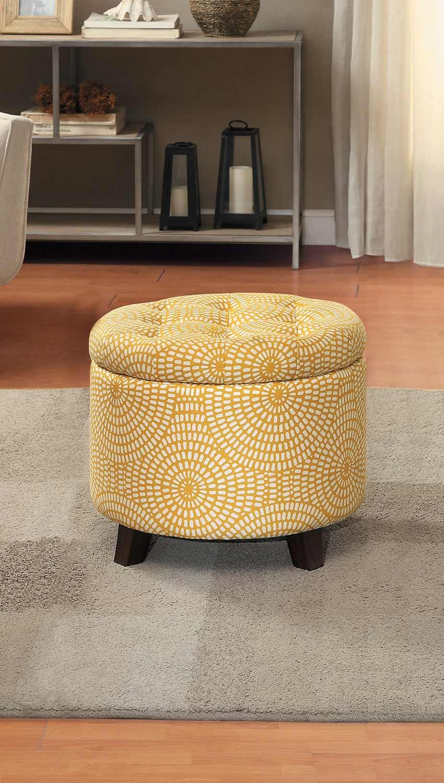 Homelegance Cleo Storage Ottoman - Yellow