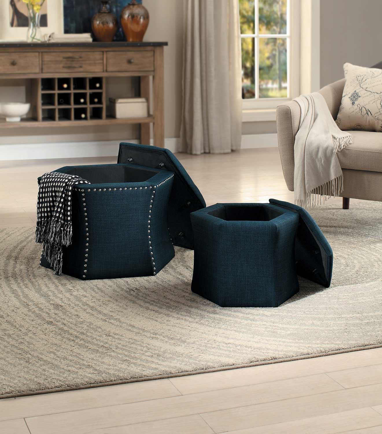 Beau Homelegance Kennelly 2 Piece Storage Ottoman Set   Blue