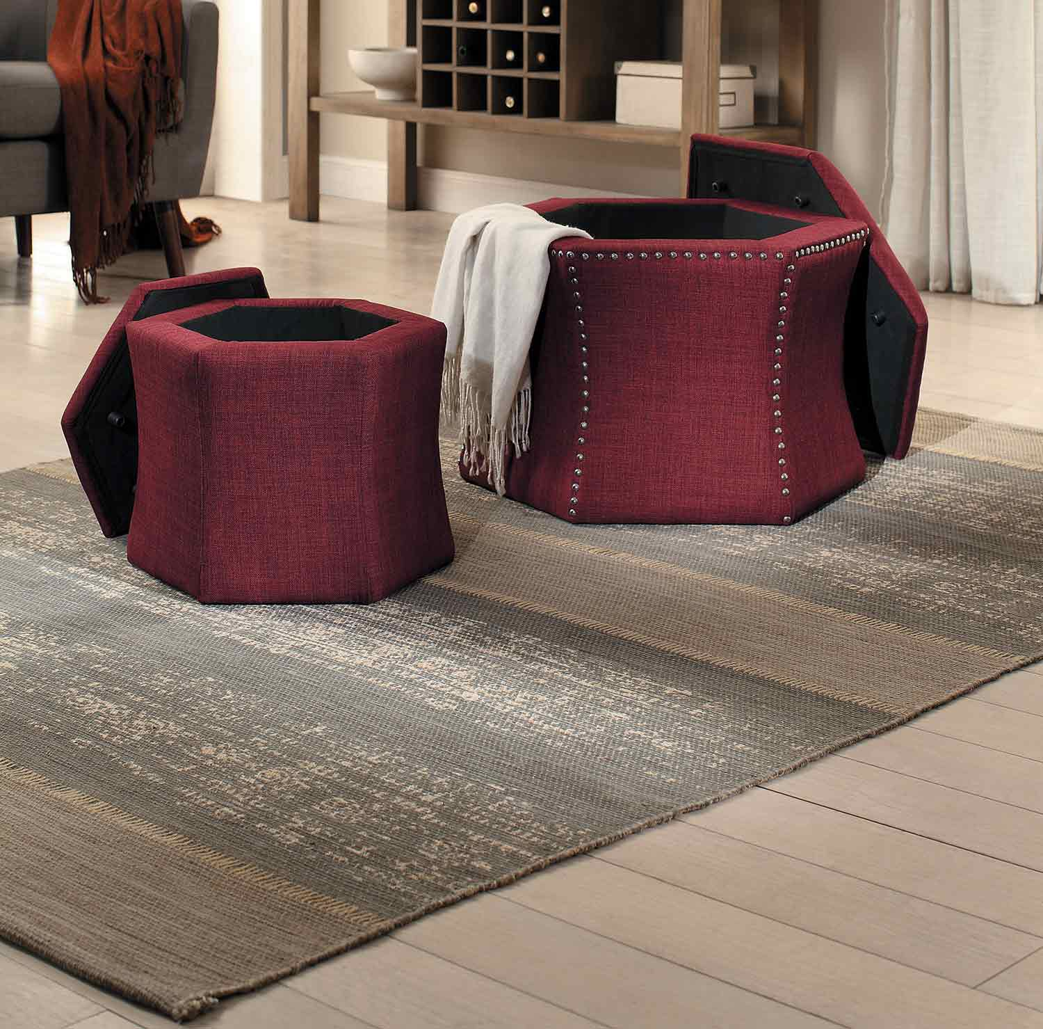 Homelegance Kennelly 2 Piece Storage Ottoman Set   Red