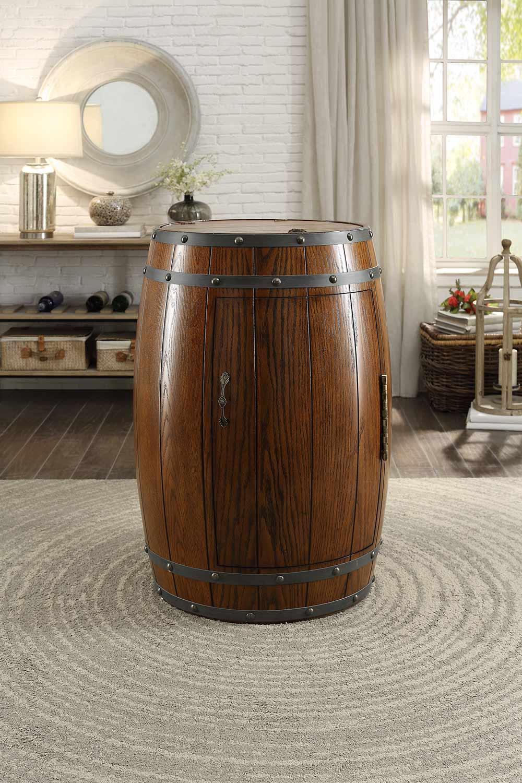 Homelegance Cabernet Wine Barrel Refrigerator Cabinet - Dark Oak