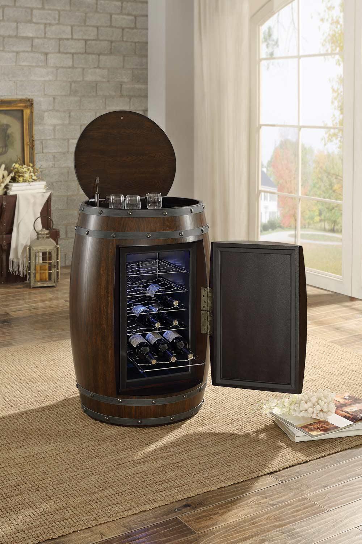 Homelegance Chardonnay Wine Barrel Refrigerator Cabinet - Dark Cherry