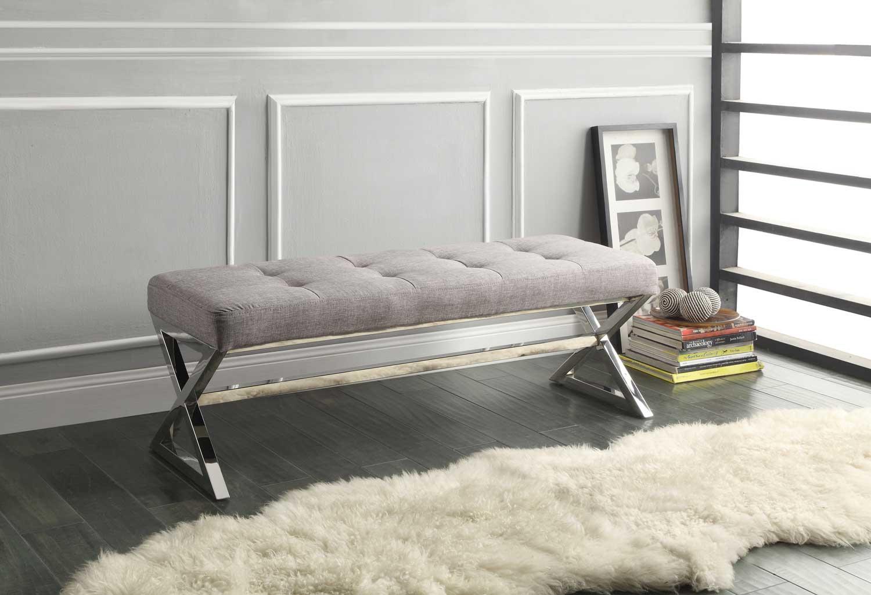 Homelegance Rory X-Base Bench - Grey Linen