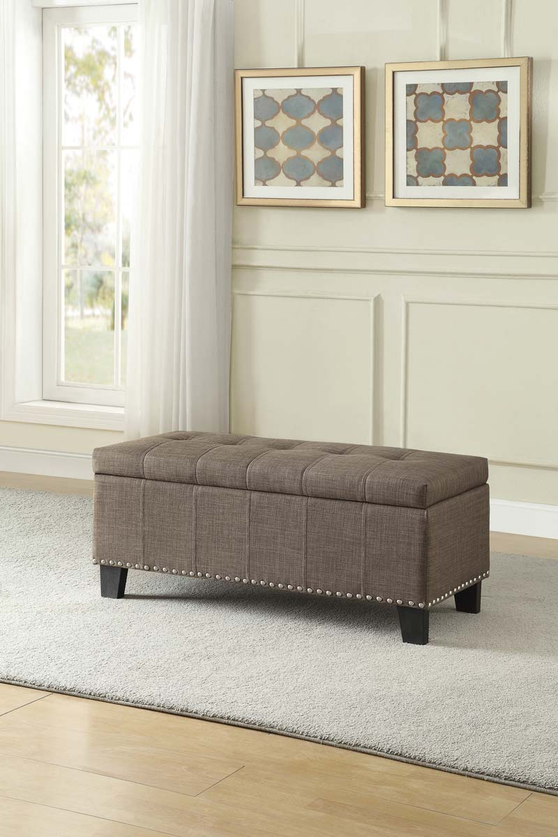 Homelegance Fedora Lift Top Storage Bench - Brown